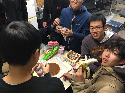 バナナを切ります