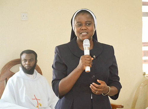 Sr Gertrude speaking at the Louisville Abuja School Mass on October 1, 2017