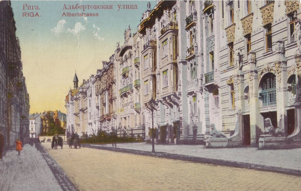 Avenue Alberta iela de Riga, le coeur art nouveau vers 1900.