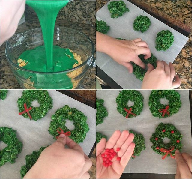 If you need a way to relax with your family during this busy holiday season, make it an easy family night with these fun Christmas Cereal Wreaths! | www.housewivesofriverton.com