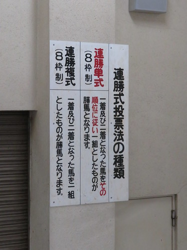 金沢競馬場の階段で見つけた連勝式発売の看板