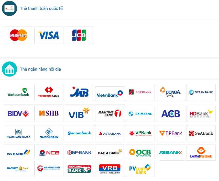 Danh sách các ngân hàng tiếp nhận thanh toán