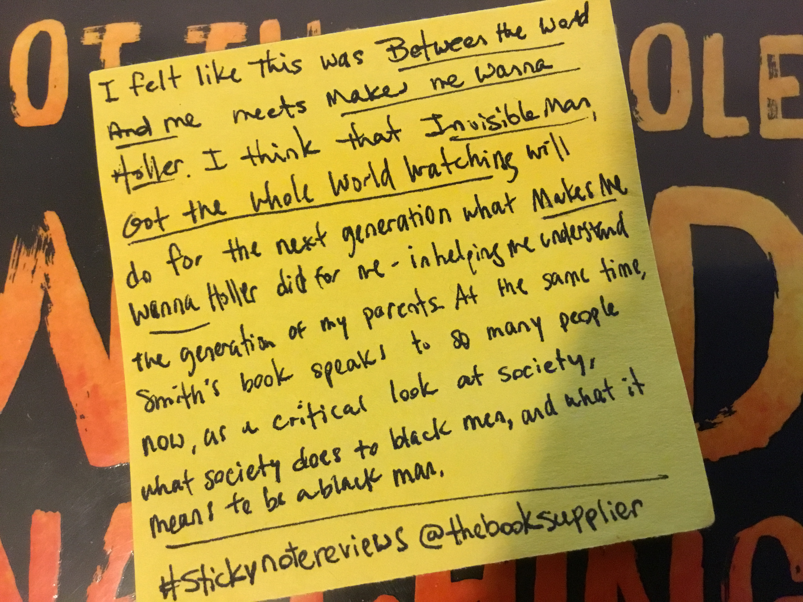 Sticky Note Review for Invisible Man, Got the Whole World Watching