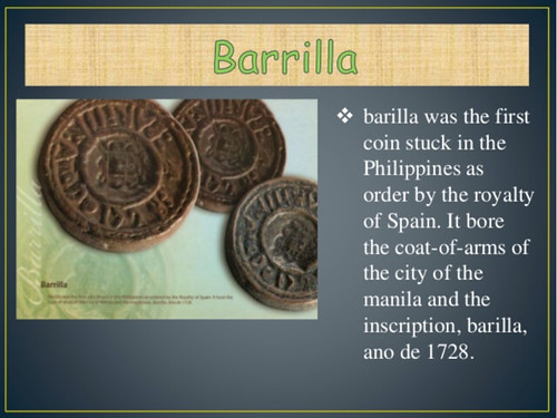 Barilla coinage for the Philippines