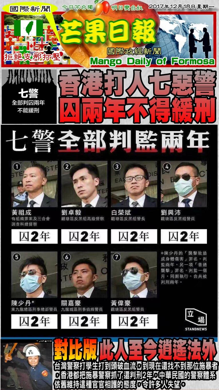 171218芒果日報--國際新聞--香港打人七惡警,囚兩年不得緩刑