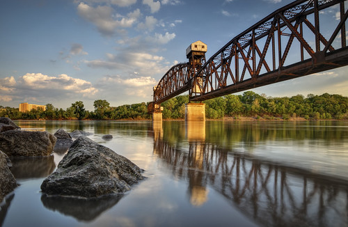 Katy Bridge, railroad bridge, Boonville Missouri, Missouri River, water, sky, clouds, warm light, Howard County, May, 2008, Spring, river, rivière, río, reflection, reflexión, Reflexion, odraz, eftertanke, http://www.notleyhawkins.com/, Missouri Photography, Notley Hawkins Photography, Rural Photography, 桥, पुल, pont, גשר ,جسر, puente, rocks, river bank class=