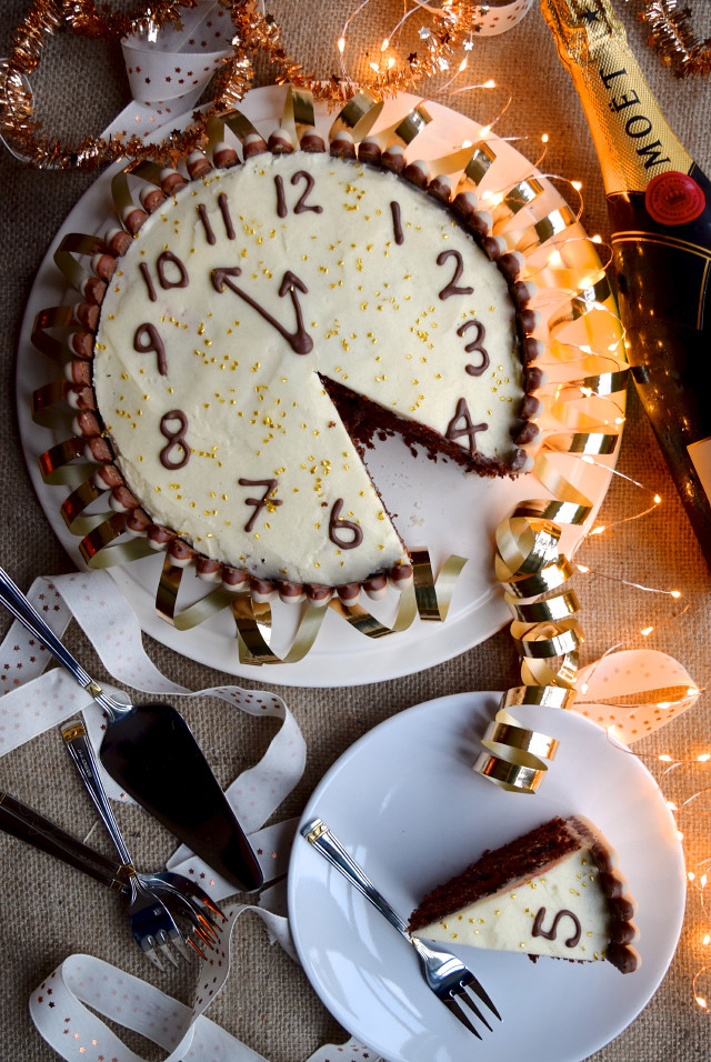 Chocolate, Cherry & Cognac New Years Eve Cake #newyear #newyearseve #cake #baking #party #chocolate #cherry #cognac