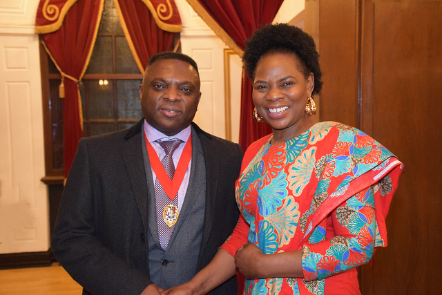 DSC_7092 Black British Entertainment Awards BBE Dec 2017 at Porchester Hall London by Jean Gasho Co Founder of BBE with Justina Mutale from Zambia and Councillor David Agbley Luton Deputy Mayor