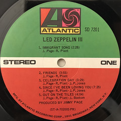 LED ZEPPELIN:LED ZEPPELIN III(LABEL SIDE-A)