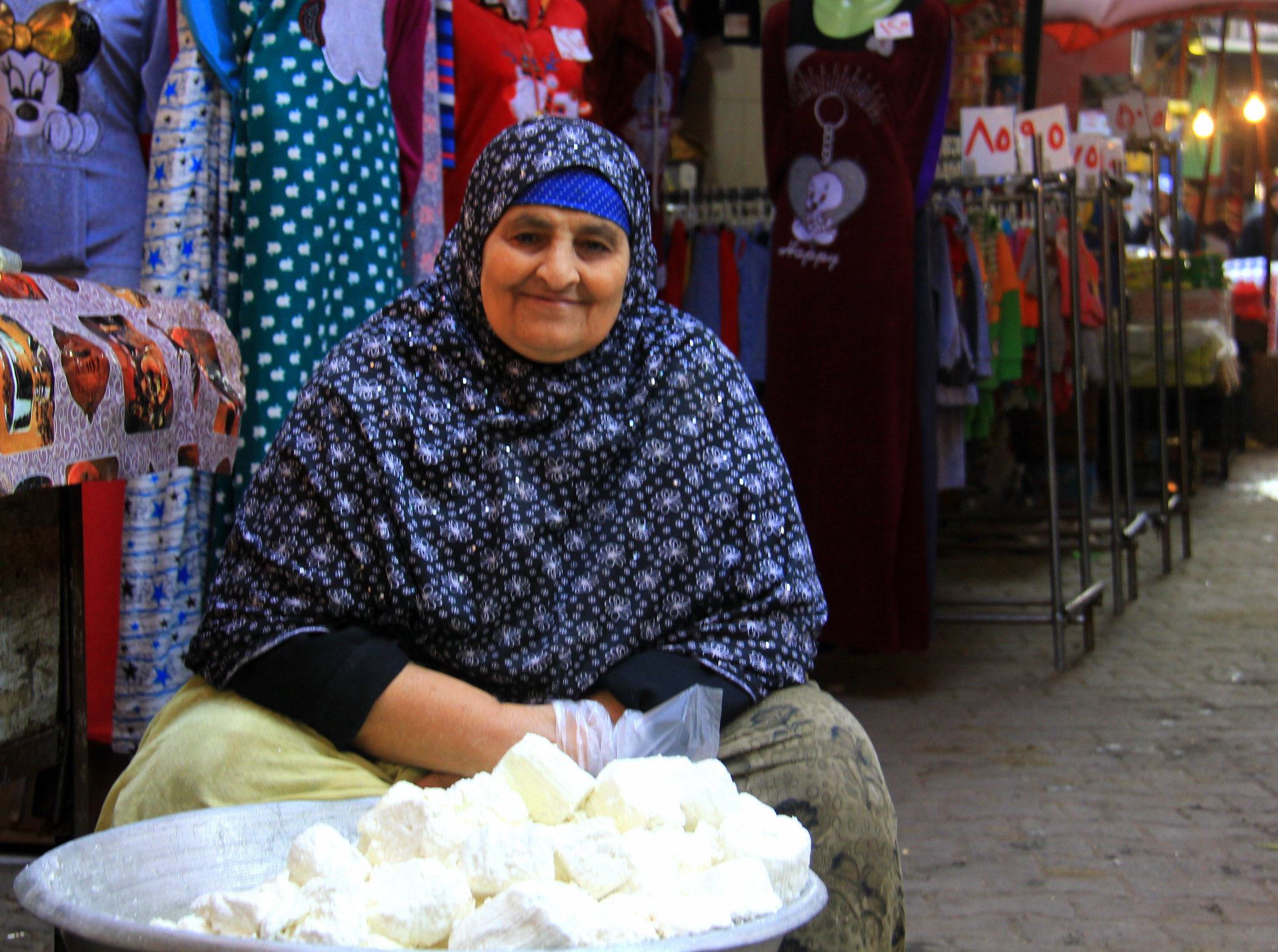 cheese seller at local market in cairo