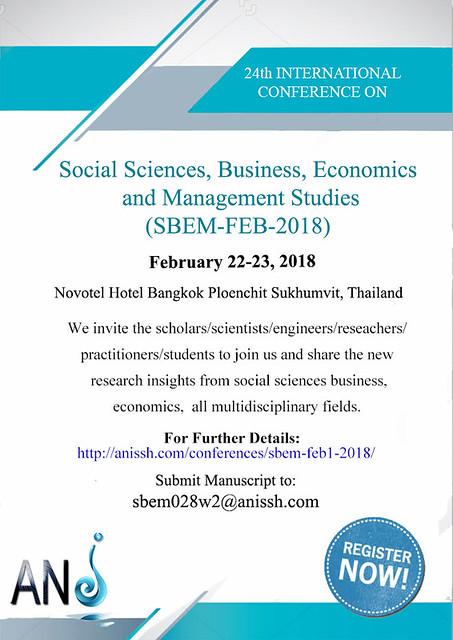 24th International Conference on Social Sciences, Business, Economics and Management Studies (SBEM-FEB-2018)