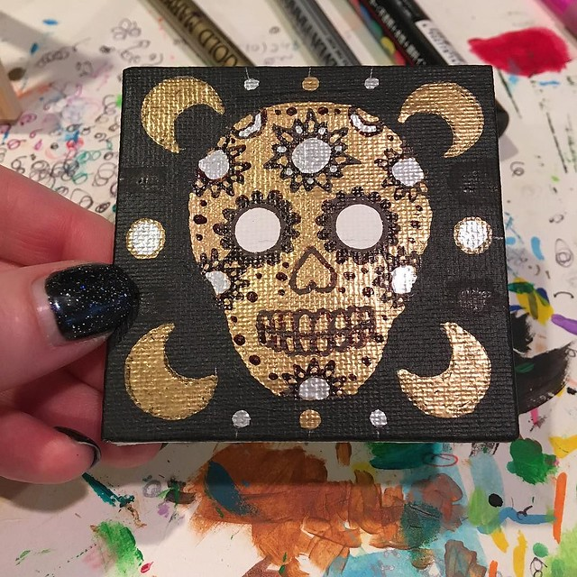 Playing around with Erika's sugar skull painting today (including mistakes). I don't have a direction with this one, but I do know it will have a shit-ton of glitter. ✨🌟✨✨✨