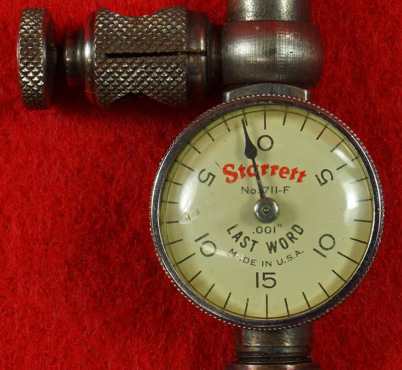 RD19916 Vintage Starrett 711-F Last Word Dial Indicator In Original Case with Label DSC03170