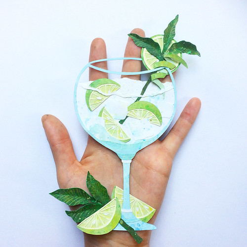 Hand Cut and Hand Painted Gin and Tonic Paper Illustration by Annemarieke Kloosterhof