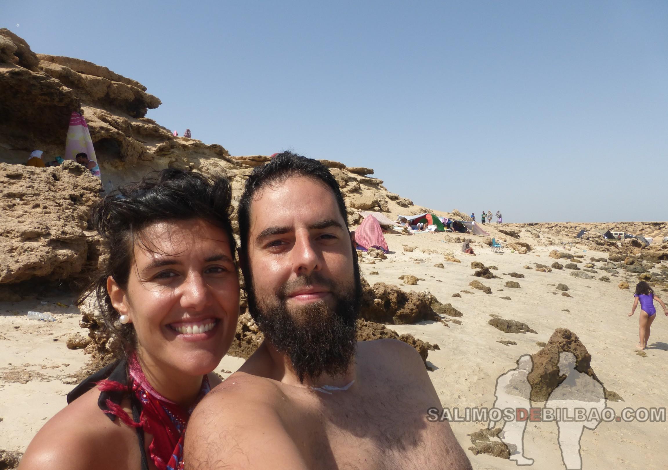 0130. Katz y Saioa, Playa de los Saharauis, Trayecto de La Source a Dakhla