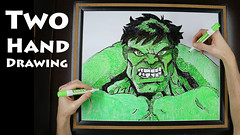 Two Hand Drawing of Incredible Hulk
