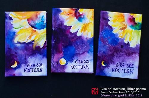 Gira-sol nocturn, llibre poema de Ferran Cerdans Serra, cobertes Eva Elias