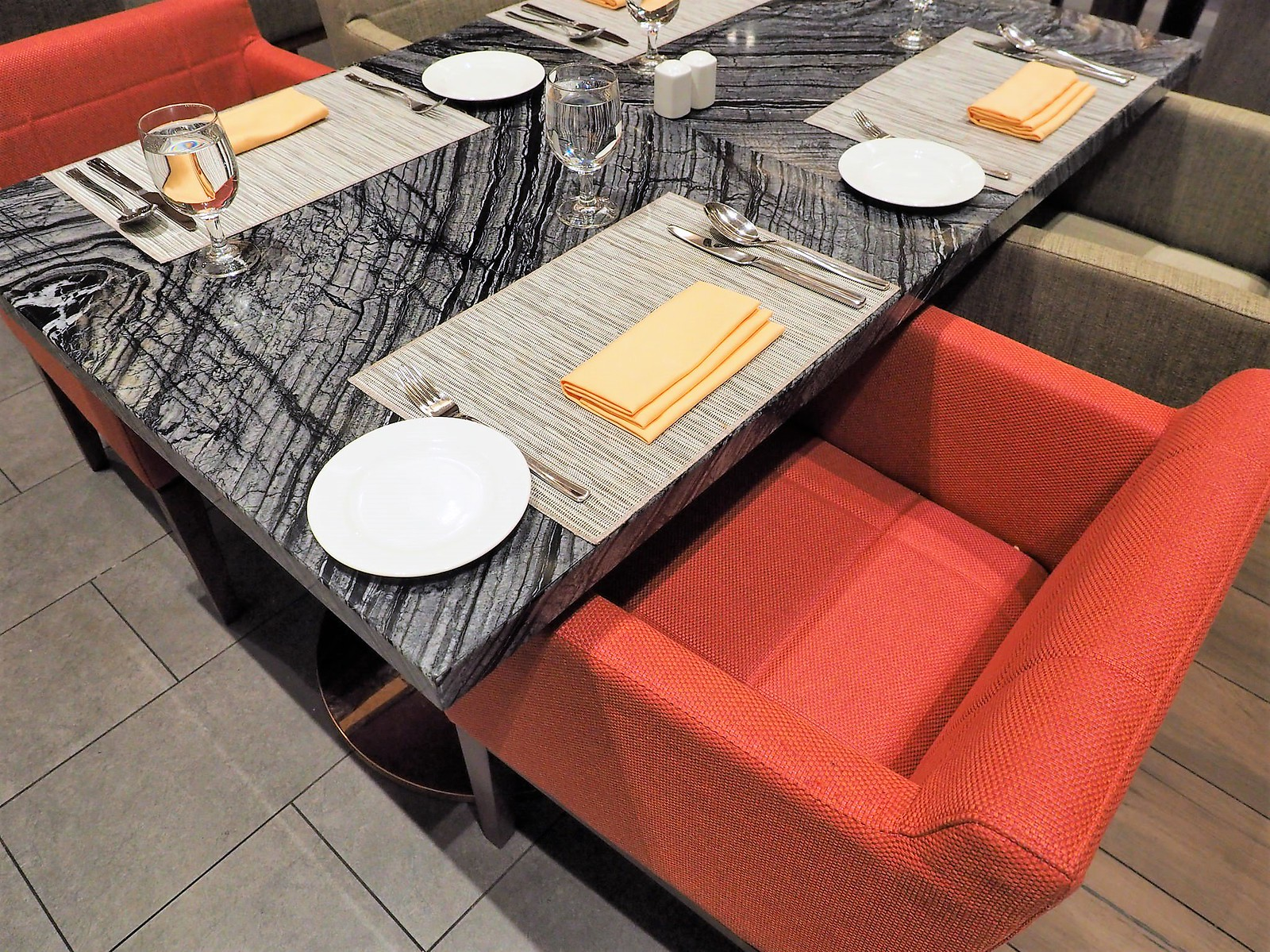 Comfortable sofa and dining table