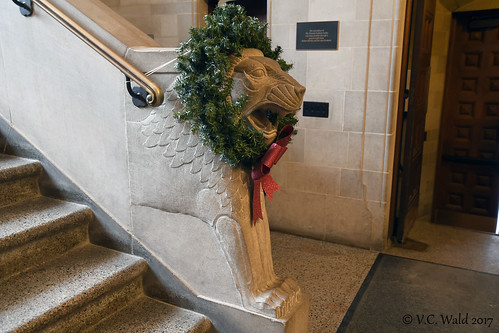 Middle-east style lion stair pillar decked out for the holiday