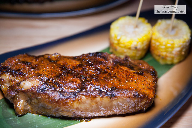 Grilled New York Strip steak with corn on the side