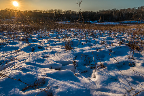 december minnesota southerntrails williamobrienstatepark field snow sunset winter