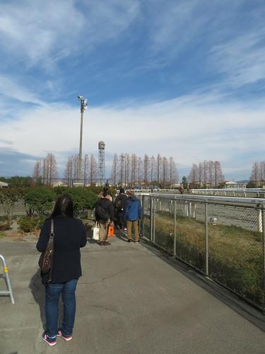 金沢競馬場のレース後に枠場近くに集まるファン