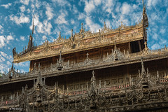 Teak carved roof of Royal Monastery - Mandalay. Myanmar