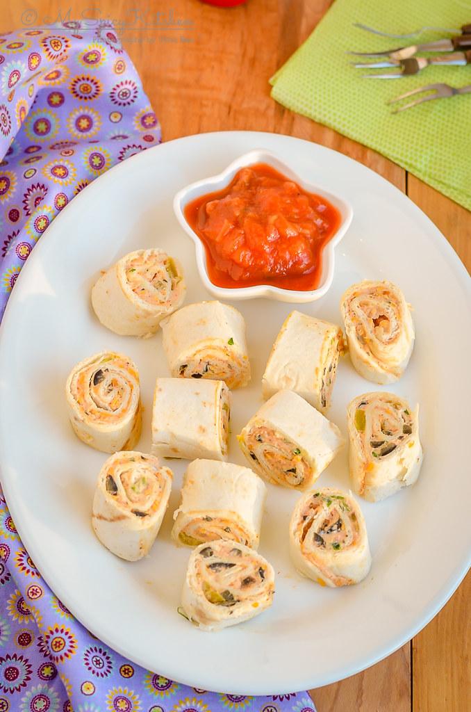 A platter of Fiesta pinwheels