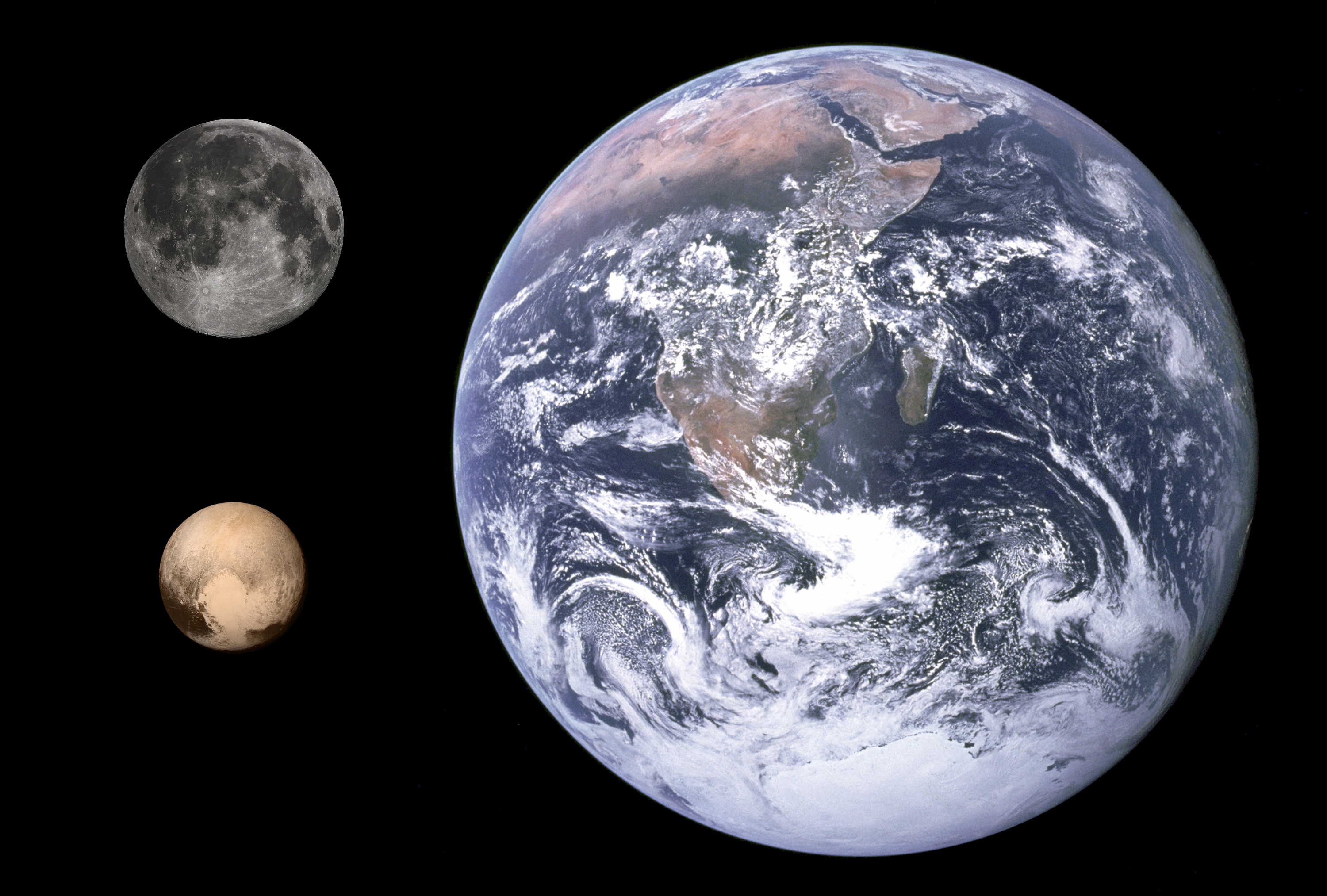 Diameter comparison of Pluto, Moon, and Earth. Scale: Approximately 28.9 km per pixel. Images from NASA, March 20, 2015.