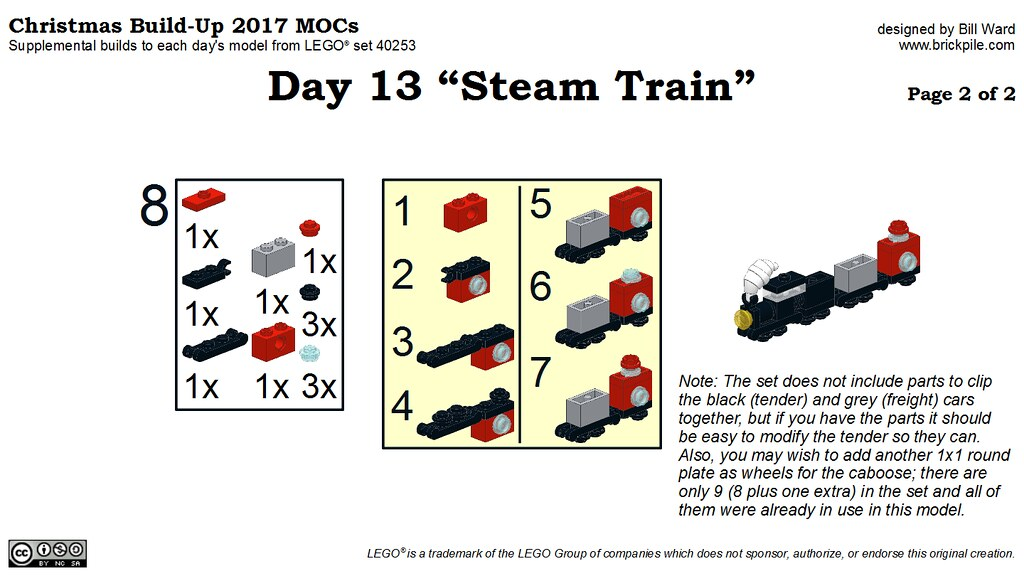 "Christmas Build-Up 2017 Day 13 MOC ""Steam Train"" Instructions p2"