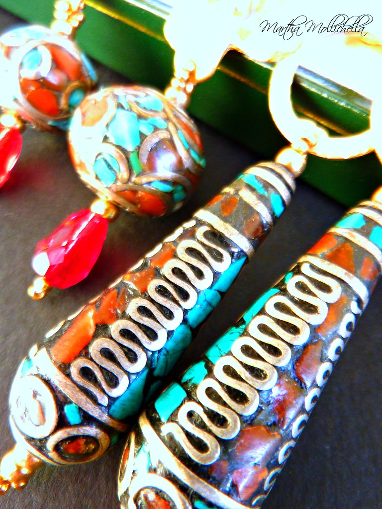 Coral and Turquoise tibetan micro mosaic by Martha Mollichella