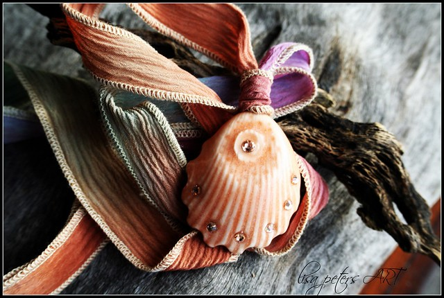 Seashell Pendant on Silk