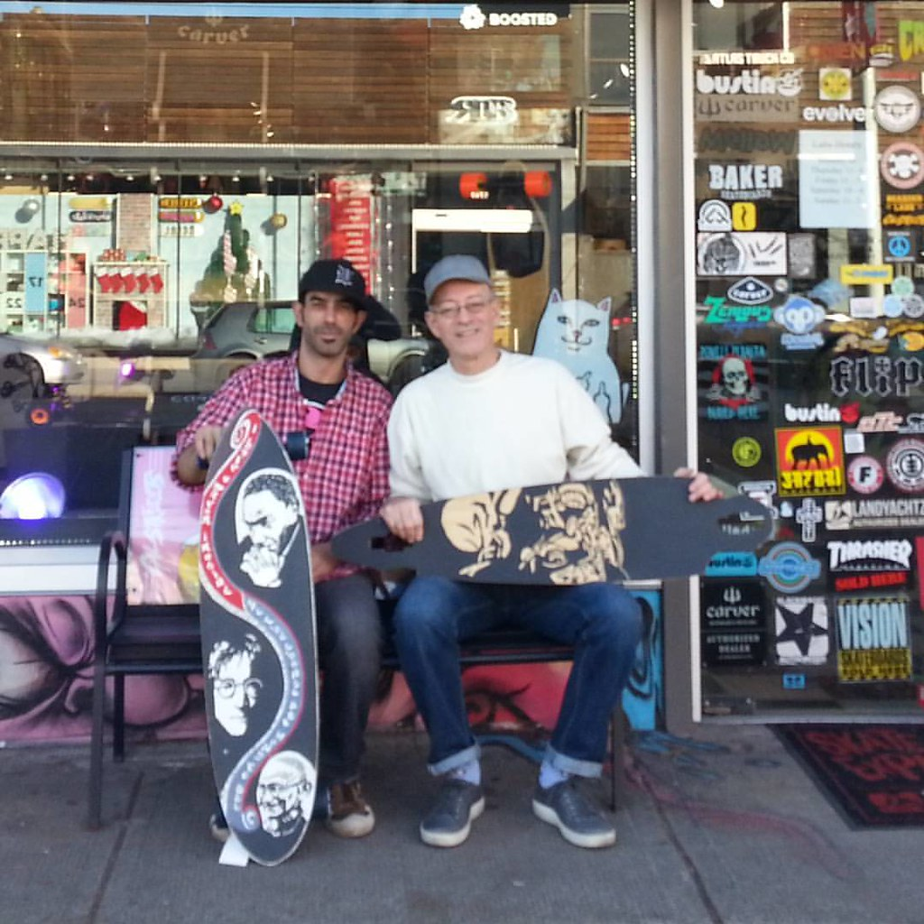 Our favourite skate ambassador, Nathan Bishop (left), bids adieu for now as he leaves for Ontario. We will miss his warmth and good will! #nathancustombishop #longboardingforpeace #concretewavemagazine #boarderlabs #calstreets