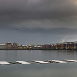 Snow clouds over Preston Docks