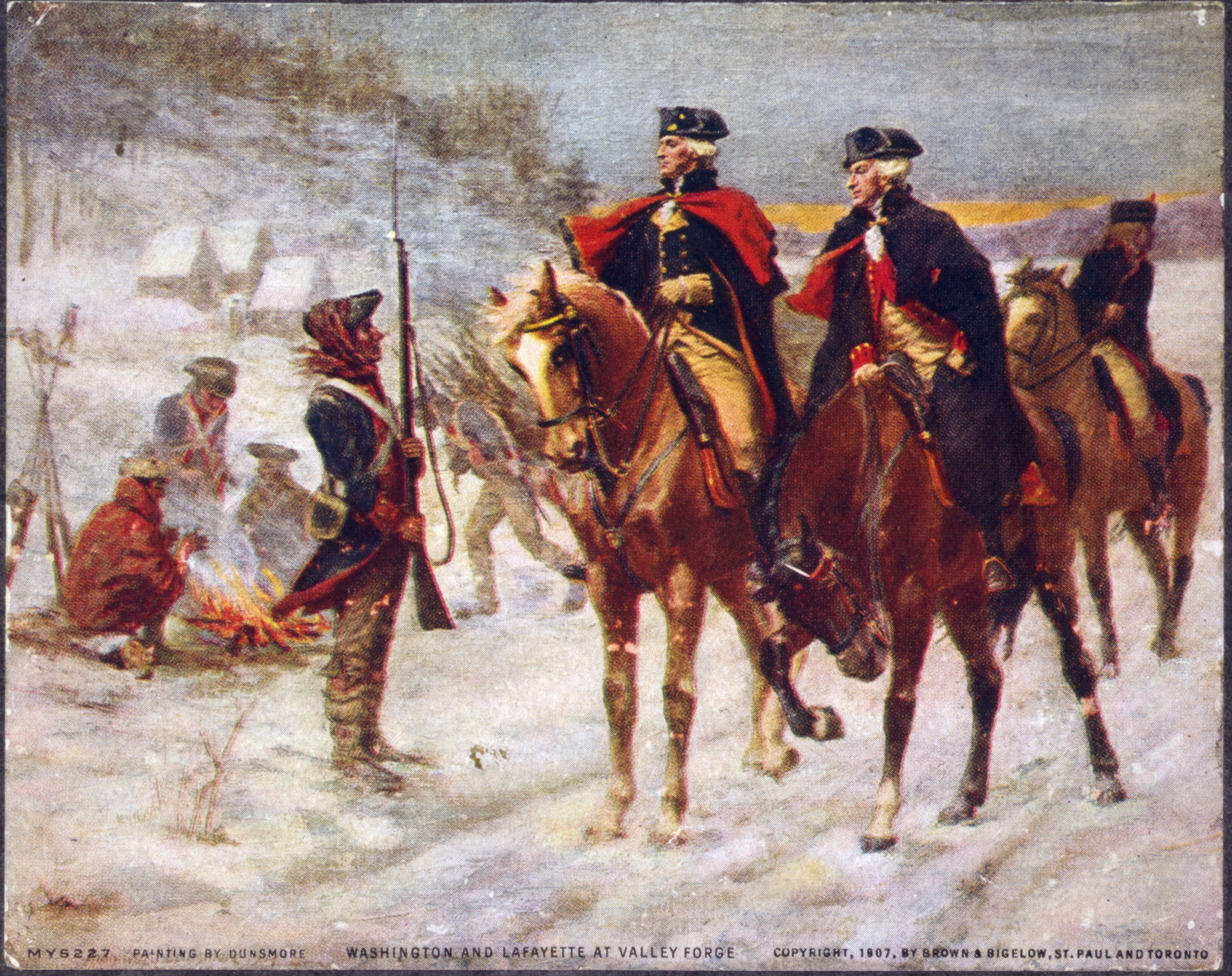 Washington and Lafayette at Valley Forge. A 1907 painting by John Ward Dunsmore.