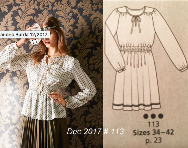 Burda photo and tech drawing sparkle blouse