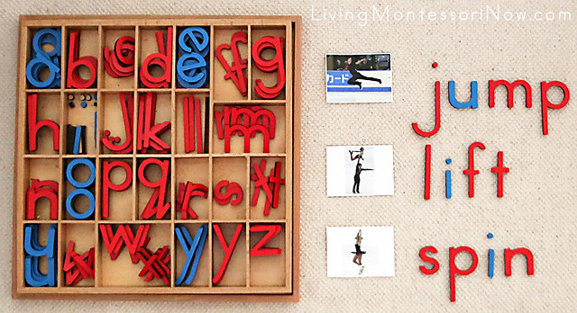 Movable Alphabet with Figure Skating Phonetic Pictures and Words