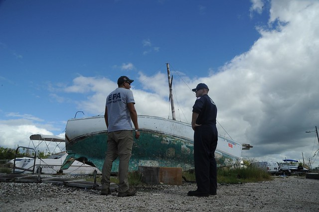 Hurricane Maria response team assesses grounded vessels in Salinas, Puerto Rico