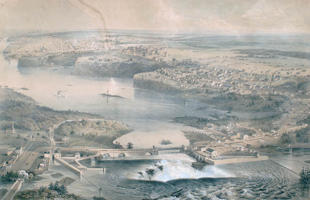 view of Ottawa, some of Hull and of the Ottawa River circa 1859, including views of the Chaudière Falls and of Parliament Hill (formerly Barrack Hill) prior to the construction of the Parliament Buildings.