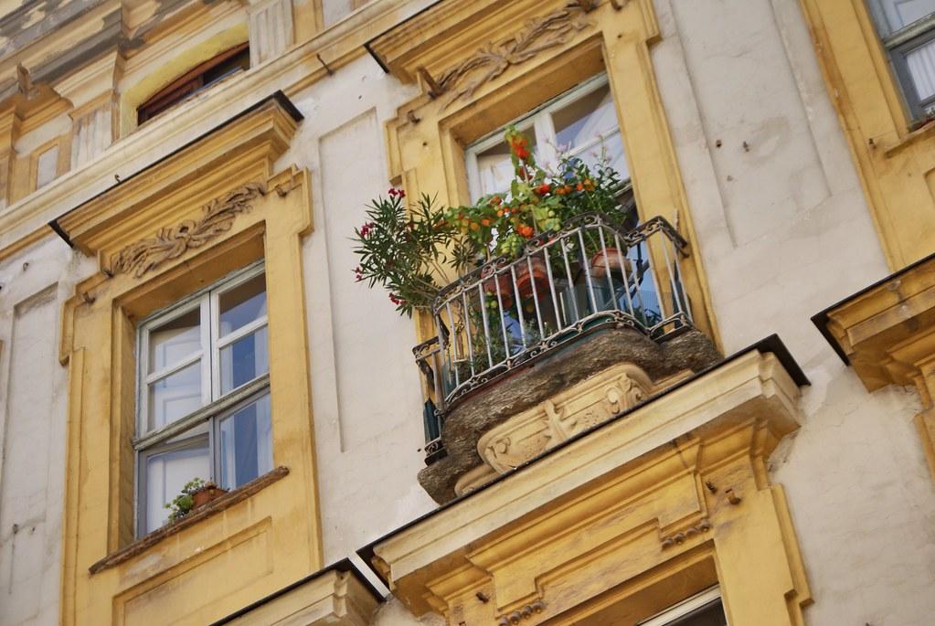 Fenêtres fleuries à Turin.