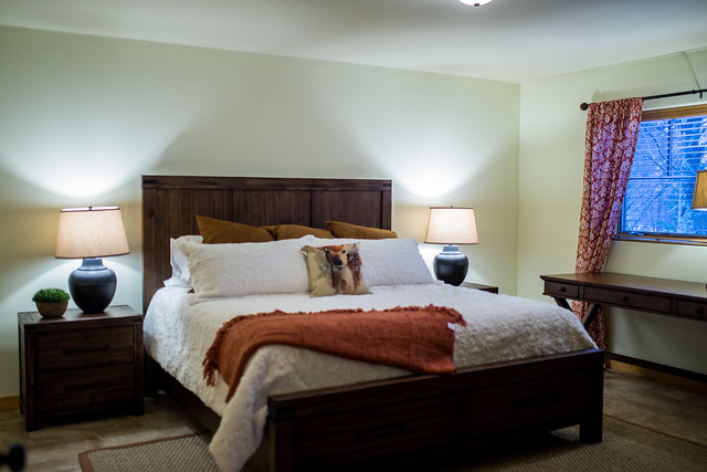 Master bedroom with king bed, private bath and walk in closet;