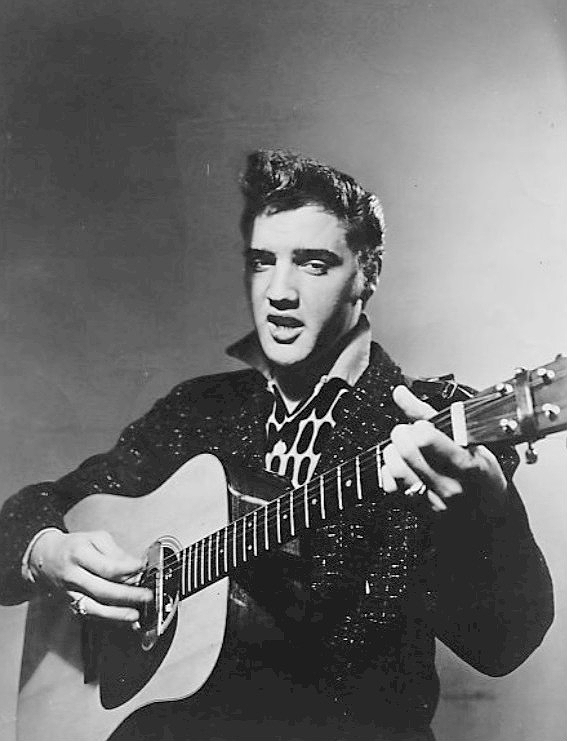 Photo sent out by the CBS television program Stage Show to promote the first national television appearance of Elvis Presley on January 28, 1956. The show was hosted by the Dorsey Brothers, who had patched up their long-standing family feud. The program was hosted one week by Jimmy Dorsey and the following one, by Tommy. The death of Tommy Dorsey, in November 1956, put an end to the variety program.