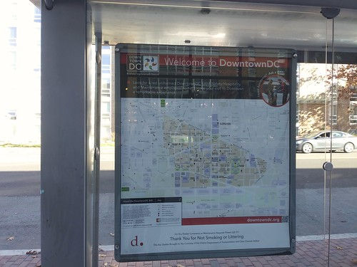 Oddly, a Downtown DC map is posted in a bus shelter on Wisconsin Avenue NW in Cathedral Heights, miles from Downtown, adjacent to the Cathedral Commons development