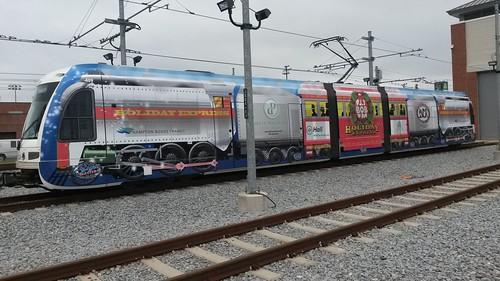 Holiday Express light rail train livery, Tide Light Rail, Norfolk, Virginia
