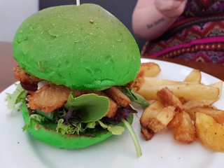 Mega Matcha Burger at The Green Edge