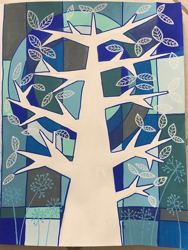 51 - Frosty Tree - Art Journal Page