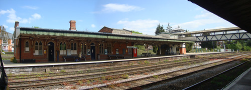 Panorama of the buildings on the island platform at Hereford railway station
