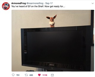 Eevee on a TV