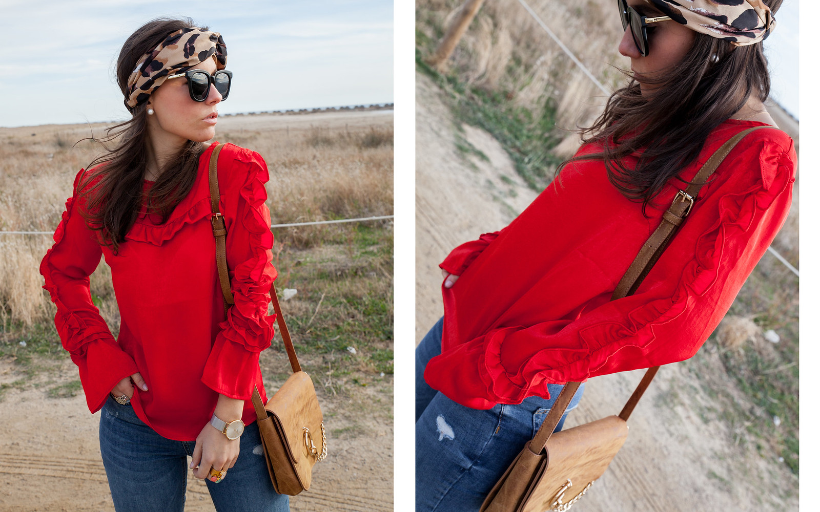 red and leopard inspiration outfit loavies red blouse theguestgirl fashion influencer jeans denim teddy coat