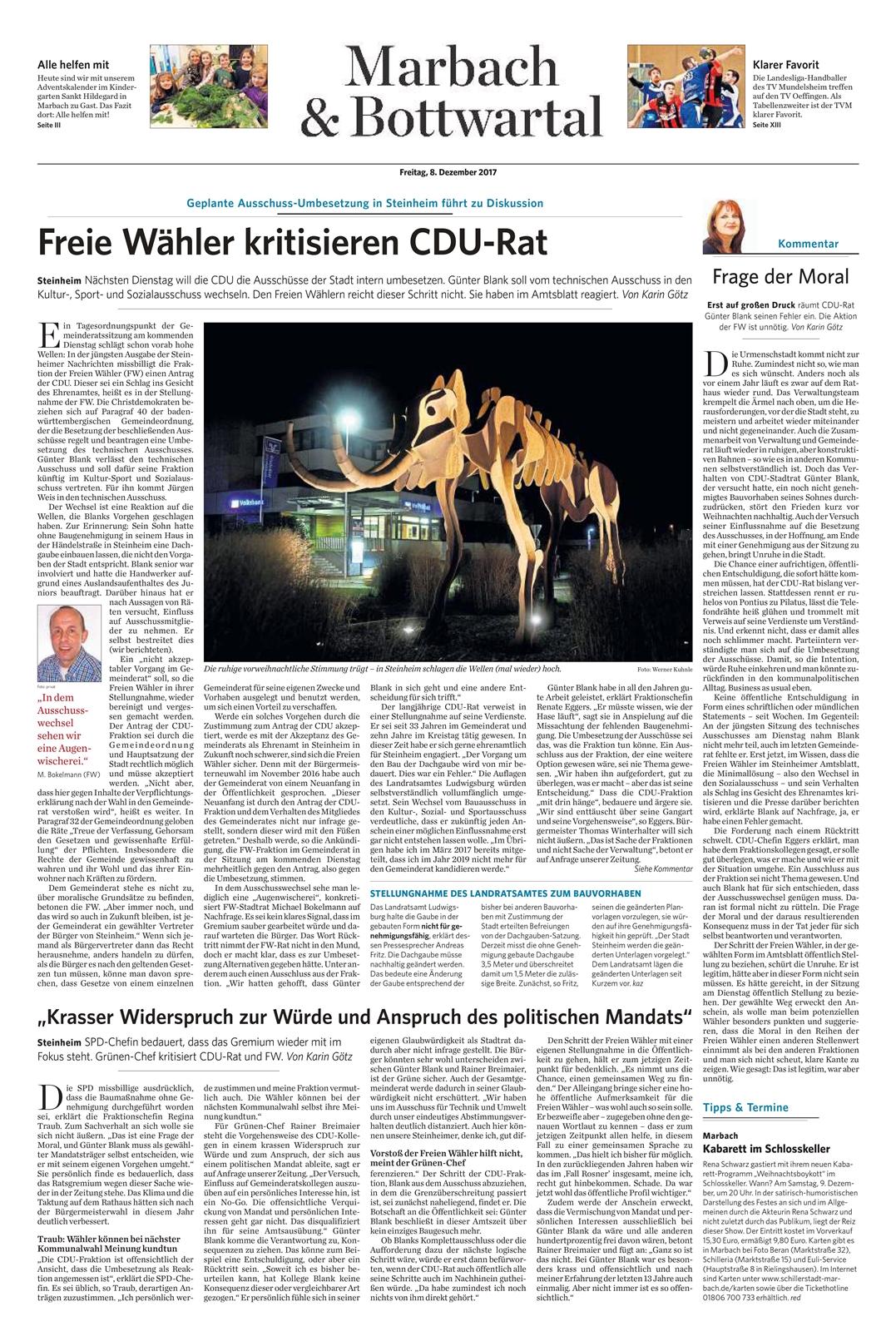 Marbacher Zeitung vom 08.12.2017